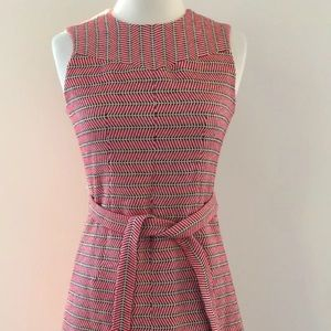 JCREW Italian Tie Waist Dress Tweed Red White 2